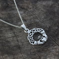 Claddagh Necklace .Sterling Silver Celtic Knot Necklace, Love, friendship symbol . 156