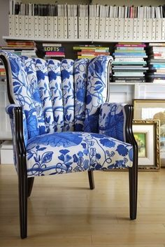 Blue Leaf Channel Chair by Mend Etc. $750.  love the fluted back and the wood trim.