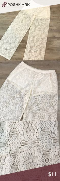 "Lace Wide legs pants Ivory colored lace wide leg pants from H&M, size 6. Inseam measures 28"" Leg openings are 11"". Elastic waist. H&M Pants"