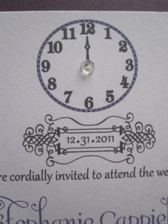 love the jewel in the middle of the clock - for a diy invite or save the date