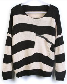 Black Stripes Loose Sweater with Pocket http://findanswerhere.com/womensfashion