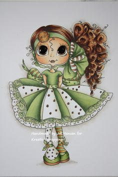 Image is CURLY JEAN from MY BESTIES and I have coloured her in these COPIC colours: Skin: E21-51-50-93 Hair: E29-27-25-21 Her green dress: YG 67-63-61-00 White: E81, W0 and Blender 0 Button and stripy sock: YR 24-23, Y35-32