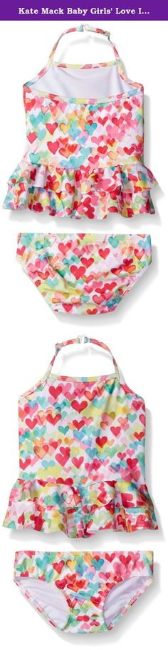 Kate Mack Baby Girls' Love Is In The Air Baby Tankini Swimsuit, Multi, 6 Months. The roughly skirt on this lively heart print swimsuit for baby will make everyone smile. It gives the look of a one piece style but actually has a separate top and bottom so convenient for changing.