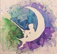 Watercolor of a Shadow of a boy sitting on the moon fishing Watercolor Water, Pastel Watercolor, Watercolor Sketch, Watercolor Paintings, Moon Painting, Painting & Drawing, Cricut Stencils, Fish Drawings, Art Drawings