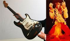 9-4 in 2008: The very first Fender Strat that Jimi Hendrix set on fire while performing is auctioned off at Sotheby's in London for approximately half a million dollars.