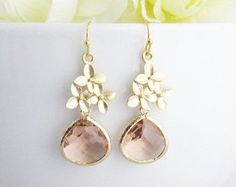 Champagne Earrings, Peach Earrings, Bridal Earrings, Christmas Gift, Sakura Earrings, Bridesmaid Gift, Wedding Jewelry, Mom Gifts, Mom