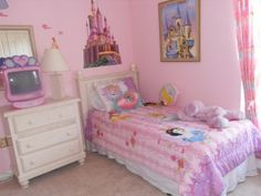 kids rooms lovely pink walt disney wall decor little girls bedroom design with white vintage drawer and small bed enchanting little girls #castle #snowwhite #pinktelevision #kidsbedroom