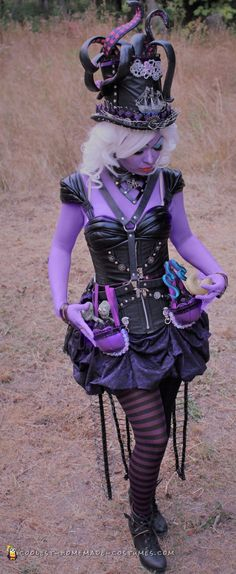 The coolest DIY costume version of The Little Mermaid villain you will ever see. Check out this Steampunk Ursula costume for your costume inspiration. Homemade Costumes, Diy Costumes, Teen Costumes, Woman Costumes, Pirate Costumes, Couple Costumes, Group Costumes, Costume Ideas, Sexy Halloween Costumes