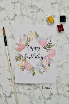 Happy Birthday Painting, Happy Birthday Drawings, Happy Birthday Floral, Watercolor Birthday Cards, Happy Birthday Greeting Card, Handmade Birthday Cards, Birthday Card Design, Card Birthday, Birthday Ideas