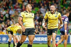 TJ Perenara Photos - Ngani Laumape of the Hurricanes scores a try as TJ Perenara celebrates during the round seven Super Rugby match between the Rebels and the Hurricanes at AAMI Park on March 30, 2018 in Melbourne, Australia. - Super Rugby Rd 7 - Rebels Vs. Hurricanes