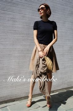 photo:01 Summer Work Outfits, Office Outfits, Japanese Models, Japanese Fashion, Skirt Fashion, Fashion Dresses, Minimalist Fashion, Daily Fashion, Her Style