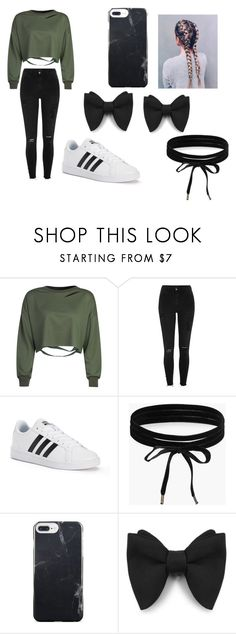 """fgnxfg"" by nylaalvarez on Polyvore featuring WithChic, River Island, adidas and Boohoo"