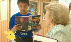 Reading Jay Leno to his new friend. I.C. Students visit Life Care Center in Yuma.