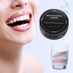 Black Activated Charcoal Shell Tooth Powder Whitening Teeth Remove Smoke Tea Coffee #Affiliate