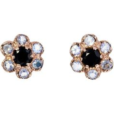 Arik Kastan Moonstone and Black Onyx Flower Post Earrings (£1,165) ❤ liked on Polyvore featuring jewelry, earrings, moonstone jewelry, moonstone earrings, post earrings, flower jewelry and flower jewellery