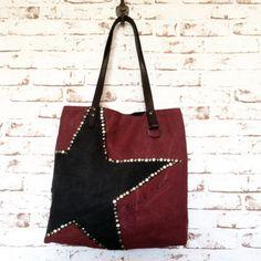 Grand sac vintage entièrement façonné à la main Toile de coton et lin de teinte marsala