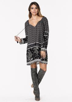 Quinn Paisley Dress #dress #grey-black #large #medium #paisley #short-dress #small #stoneblue-navy #tassel