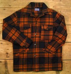 Vintage Men's Pendleton Shirt Jacket / Red Plaid Wool by Rustology, 55.00
