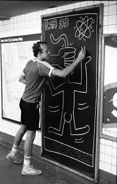 Keith Haring (1958 - 1990) He got his artisitic start doing graffiti in New York City, he's known for his rounded cartoon figures