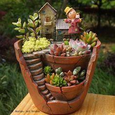 Sky Garden Planter Herb Flower Cactus Succulent Plant Resin Pot Box Container