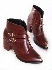 Brown Fashion British Style High-heel Boots