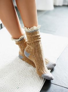 Irreplaceable Speckled Highland Boot Sock | Super comfy speckled boot sock with a crochet ruffle at the top.