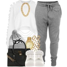 "White Shredded Crop Tee, Gray Joggers, Gold Watch/Chain/Ring Set, Gray/White ""Dope"" Beanie, Black/Gold Purse, Nike Air Force 1s"