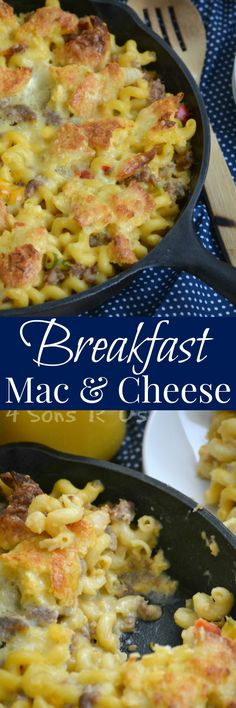 A yummy skillet dish, this Breakfast Mac And Cheese is everything you love about a traditional breakfast or brunch– in one cheese-filled macaroni dish.