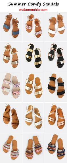 Sandals Summer Summer Comfy Sandals - There is nothing more comfortable and cool to wear on your feet during the heat season than some flat sandals. Shoes Flats Sandals, Cute Sandals, Cute Shoes, Leather Sandals, Me Too Shoes, Flat Sandals Outfit, Comfy Shoes, Looks Chic, Summer Chic