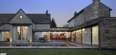 Example of flexibiliity of modern farmhouse design. Easy to incorporate modern windows and other elements - DV