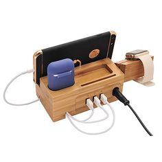 BoxThink Charging Station Apple Watch Airpods Charger Stand iphone Charging Dock Cable Management Wood Charging Station with 3 USB Ports Compatible with AirPods/Apple Watch - BoughtAgain - Electronics gadgets,Electronics apple,Electronic Best Apple Watch, Apple Watch Iphone, Phone Apple, Apple Charging Station, Docking Station, Samsung, Airpods Apple, Wearable Device, Wearable Technology