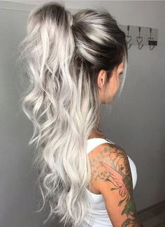 Middle Part Long Ombre Wavy Party Synthetic Wig Related Charming Long Blonde Hairstyles & Haircuts for 2018 - HaareGoals 2019 - HaareThe 15 Biggest Hair-Color Trends of 2019 - Substantive Pelo Color Gris, Icy Blonde, Silver Blonde Hair, Black Roots Blonde Hair, Black And Silver Hair, Ice Blonde Hair, Light Blonde, Blonde Root Drag, Ash Blonde Balayage Silver