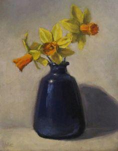 Norfolk jonquils 2 18x14 cm oil on Linen nicholaselliott.blog Norfolk, Paintings, Vase, Oil, Fine Art, Blog, Home Decor, Decoration Home, Paint