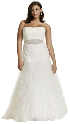 Tulle Plus Size Wedding Dress with Basket Woven Bodice and Ruffled Skirt... *** Quickly view this special  product, click the image : Plus size evening gowns