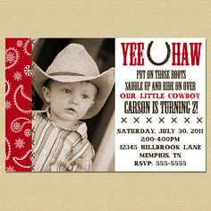 Cowboy Invitation Giddy Up Western Birthday Theme 1500 via