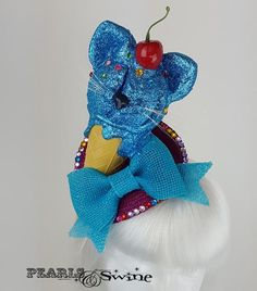 "Glitter Ice-Cream Cat Fascinator ""Cool Cat"""