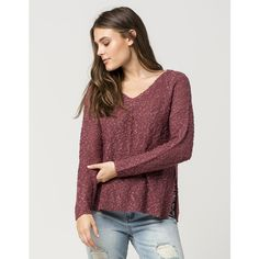 Full Tilt Nubby Knit Womens Sweater ($28) ❤ liked on Polyvore featuring tops, sweaters, long sleeve v neck sweater, v-neck tops, long sleeve sweater, drop shoulder sweater and long sleeve knit tops