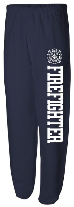 Firefighter Sweatpants - Navy sweatpants with firefighter and Maltese down the left leg FREE SHIPPING.