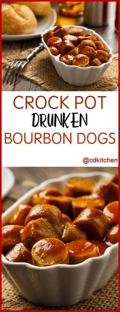 Slow Cooker Drunken Bourbon Dogs - These hot dog bites are made in the slow-cooker but they're ready fast. Sliced wieners cooked with bourbon, brown sugar, and onion are all ready to be stuck on a toothpick and join the party.  CDKitchen.com