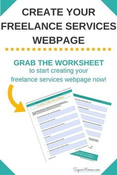 Don't know what to include on your freelance services webpage? Grab your worksheet to get started! If you want to be a freelancer, you NEED to have an awesome freelance services webpage to increase the chance of getting clients. Click on over to get your worksheet now!