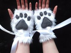 Cute White Furry Wolf Arctic Fox Husky Dog Polar Bear Cat Paw Print Fingerless Gloves Wrist Warmers