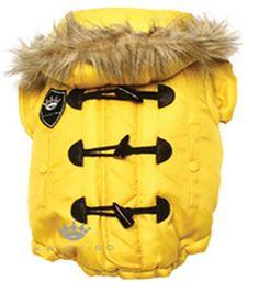 Designer Dog Parka Coat Yellow Toggle Dog Clothes