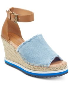 reputable site 9162d 3094d Tommy Hilfiger Yavino Espadrille Platform Wedge Sandals - Blue 7.5M Blue  Sandals, Women s Shoes