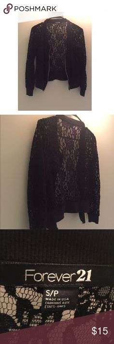 Forever 21 Lace Sweater Jacket No holes or stains. Trendy zip up style Forever 21 Tops