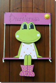 Grenouille sur balancoire 2012 05 Wood Crafts, Fun Crafts, Diy And Crafts, Crafts For Kids, Arts And Crafts, Paper Crafts, Fall Decor, Holiday Decor, Cute Frogs
