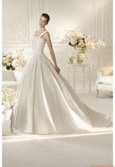 Einschulter A-linie Bodenlang Schlichte Brautkleider 2014 aus Satin