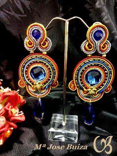 Complementos de Flamencas flecos flamenquitas: Pendientes  de flamencas   tonos  azulinas