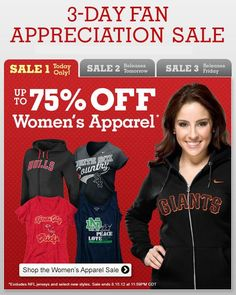 TODAY ONLY - Up to 75% off Women's Apparel! www.fansedge.com/Sale-Items-Womens-Apparel-_-1121091390_BW.html?social=pinterest_81512_wapparel