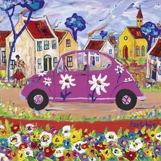 Pink Beetle by Portchie (Alice Art Gallery) Art And Illustration, Illustrations Posters, South African Artists, Naive Art, Whimsical Art, Elementary Art, Cute Art, Art Lessons, Flower Art
