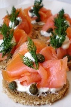 Smoked Salmon & Capers Canapes http://www.ewacatering.com. Picture only- speaks for itself.